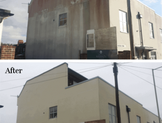 before and after render facade cleaning with doff steam in brighton from purple-rhino.co.uk