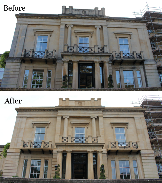 before and after doff steam clean stone facade in bath from purple-rhino-co-uk