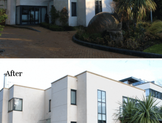 Before and after cleaning and sanitise a render facade from purple-rhino.co.uk