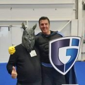 Rhinoman and Captaingleaming finally meet with each other at The Cleaning Show 2015 in London