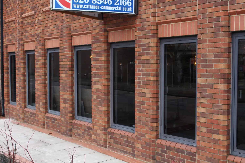 Powder Coated Windows : Brown powder coated window frame restoration chertsey